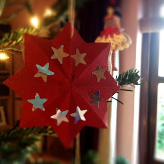 Red Christmas Decoration Card with Stars
