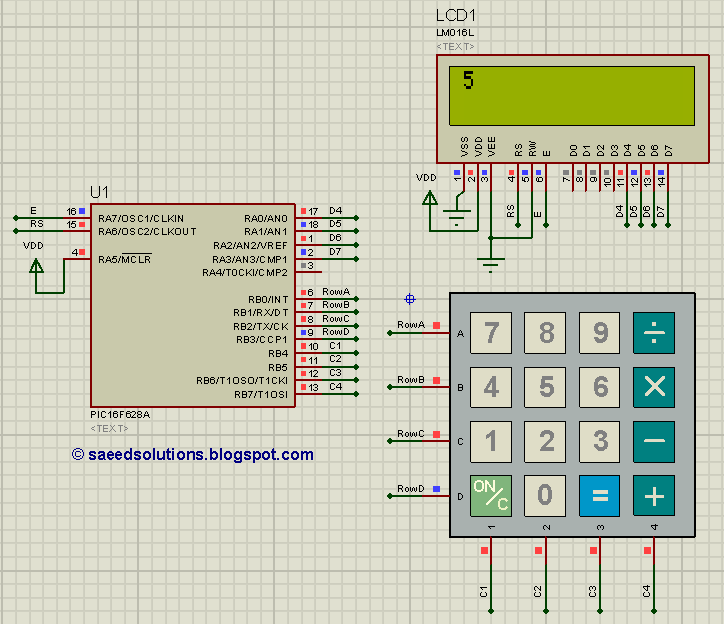 PIC16F628A based simple calculator (Code+Proteus simulation