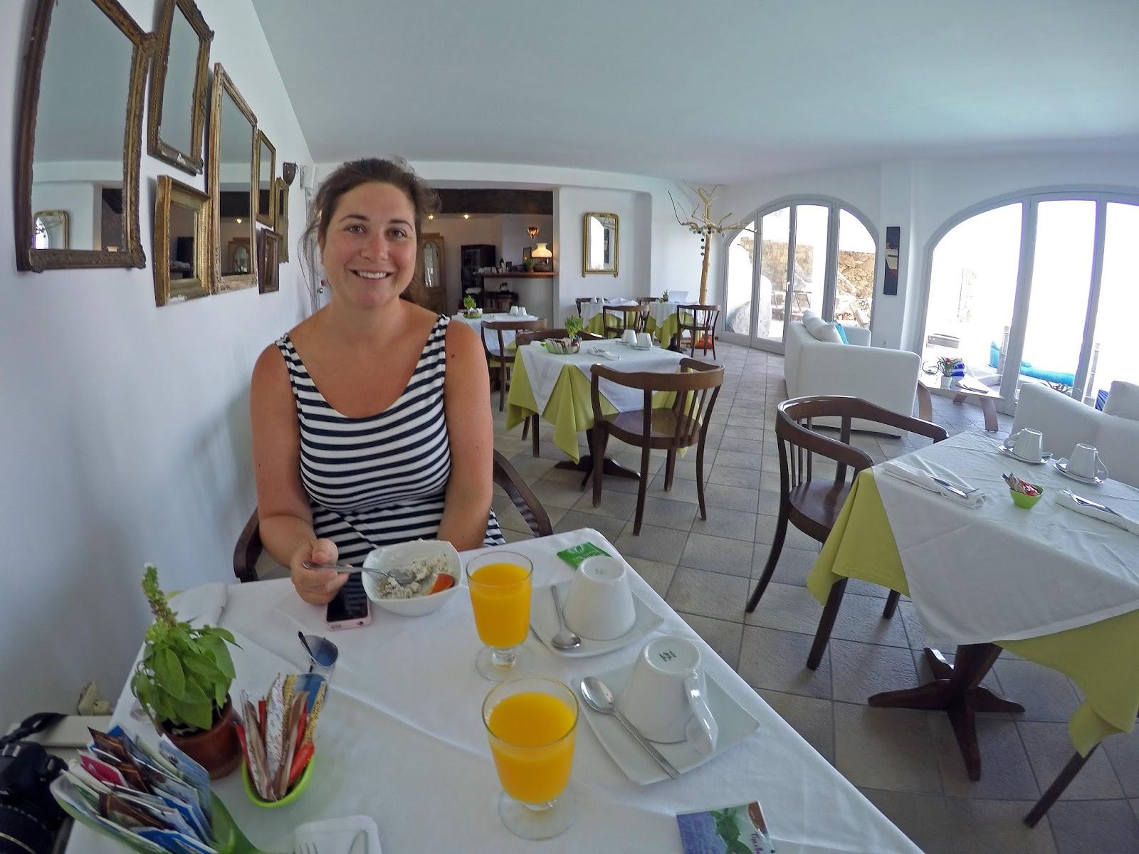 Tharroe of Mykonos Girl at Breakfast