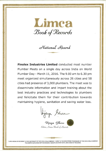 Finolex Pipes enters Limca Book of Records