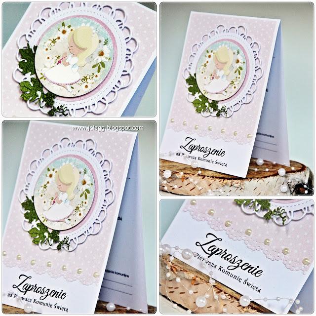 Cardmaking By Jolagg Zaproszenia Na Komunię Dla Dziewczynki