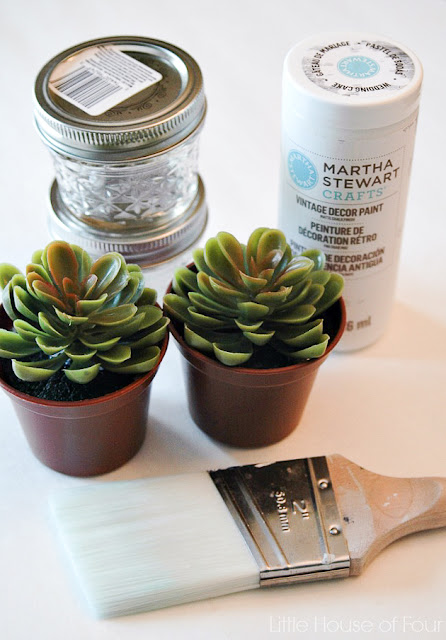 Supplies for faux succulents in jelly jars