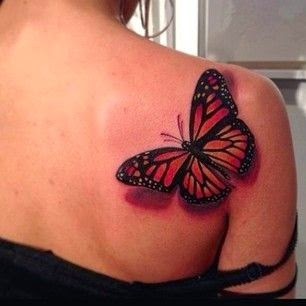 women 3D Butterfly Tattoo
