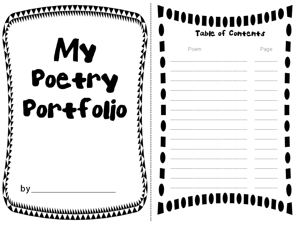 Rockin resources poetry portfolio with adorable templates for Poetry booklet template