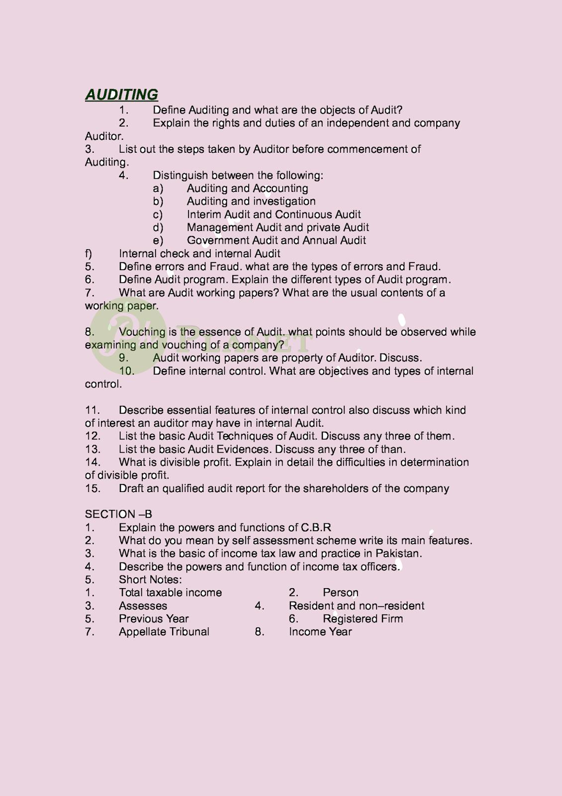 B com Auditing Guess Paper
