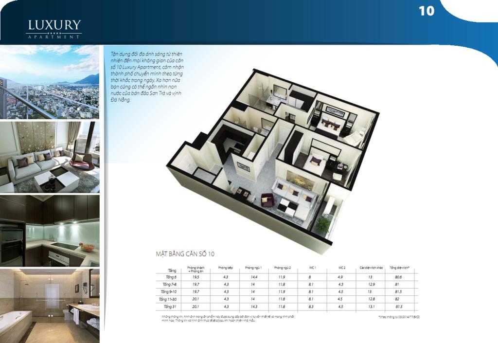 Mặt bằng căn hộ số 10 dự án Luxury Apartment Đà Nẵng