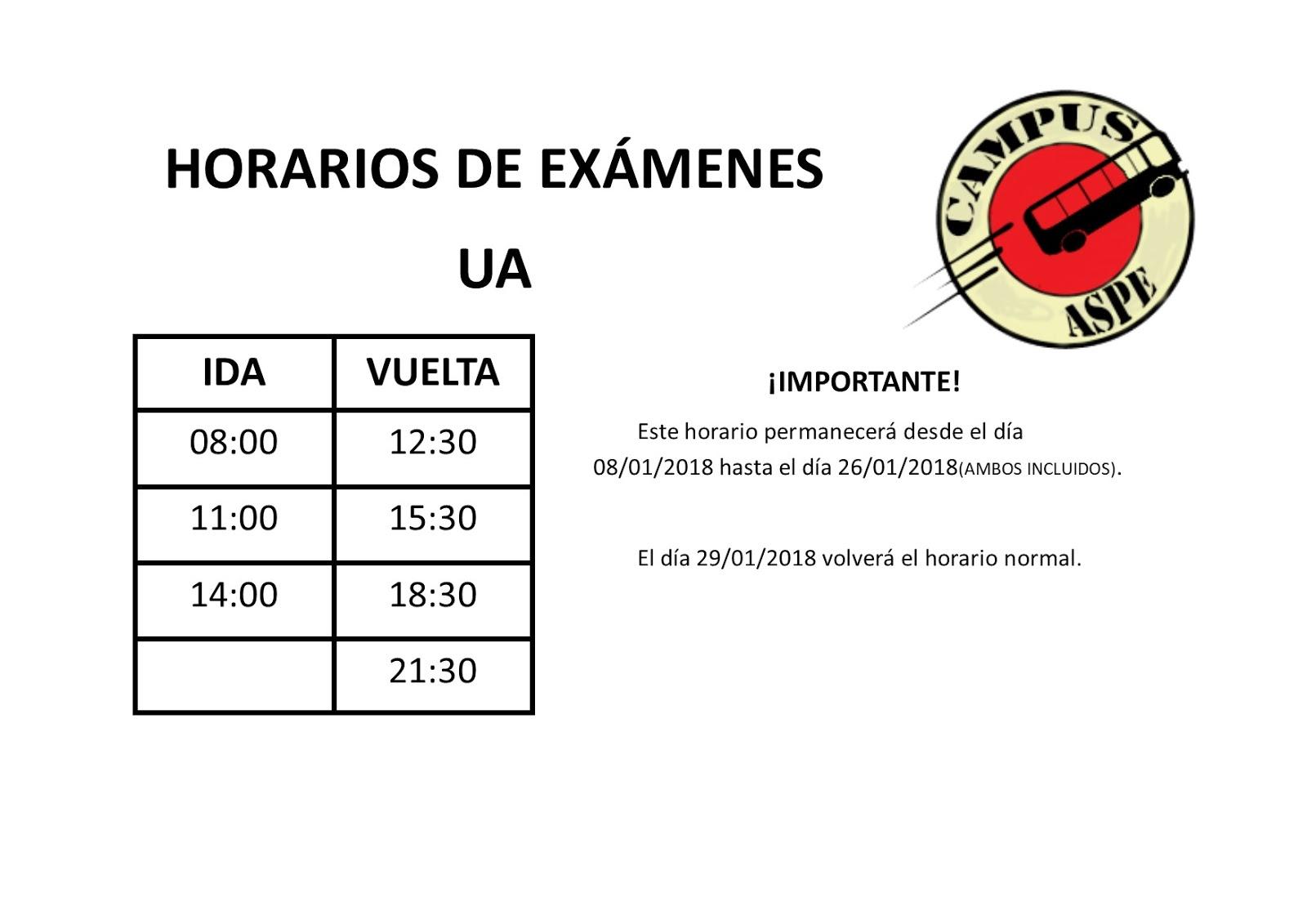 HORARIO DE EXÁMENES Y REANUDACIÓN DE TURNOS | CAMPUS ASPE
