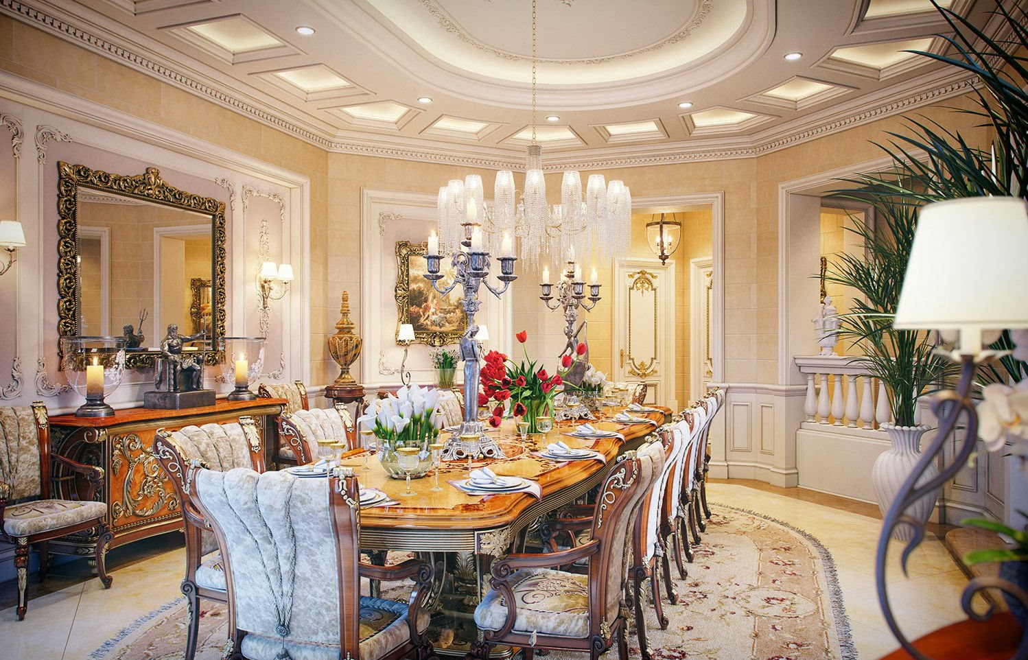 luxurious dining rooms | Luxury Life Design: Luxury Villa in Qatar Made Out of the ...