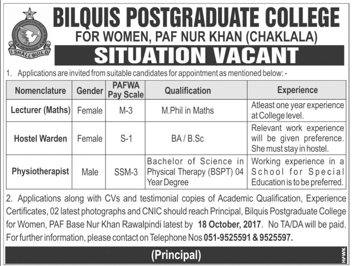 Teachers & other Staff Required in Bilquis Post Graduate College Islamabad Oct 2017