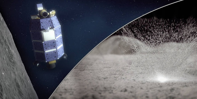 Artist's concept of the LADEE spacecraft (left) detecting water vapor from meteoroid impacts on the Moon (right). Credits: NASA/Goddard/Conceptual Image Lab