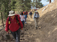 San Gabriel Mountains Trailbuilders heading to work on Hawkins Ridge Trail
