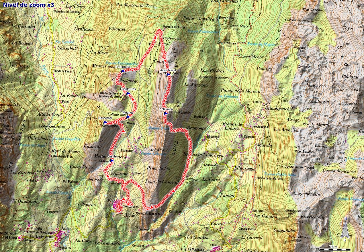 Mapa de la ruta por la sierra de Tene, Quirós