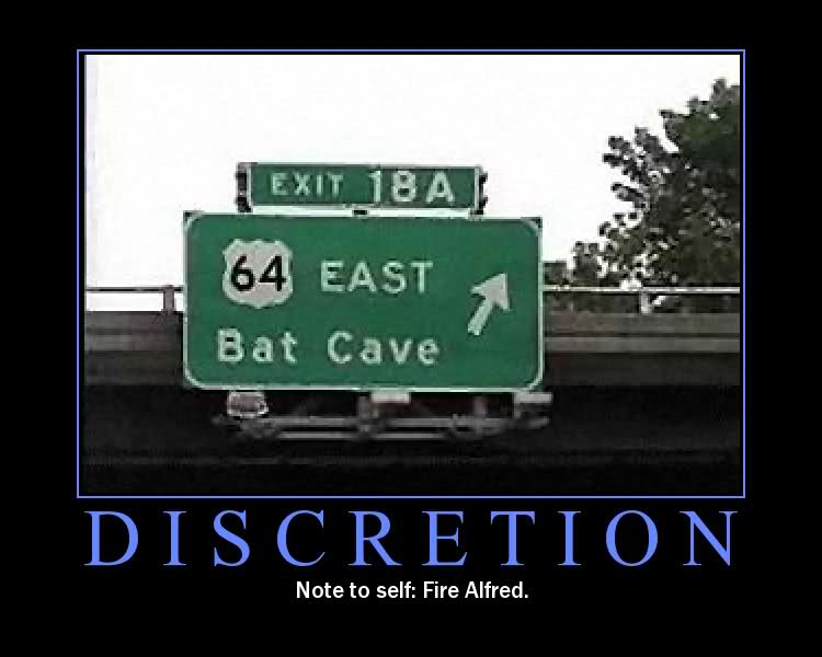 Alfred posts a sign to the Batcave