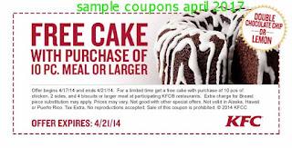 free Kfc coupons for april 2017