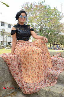 Actress Chetana Uttej Stills in Floral Long Skirt at Pichiga Nachav Movie Press Meet  0083.JPG