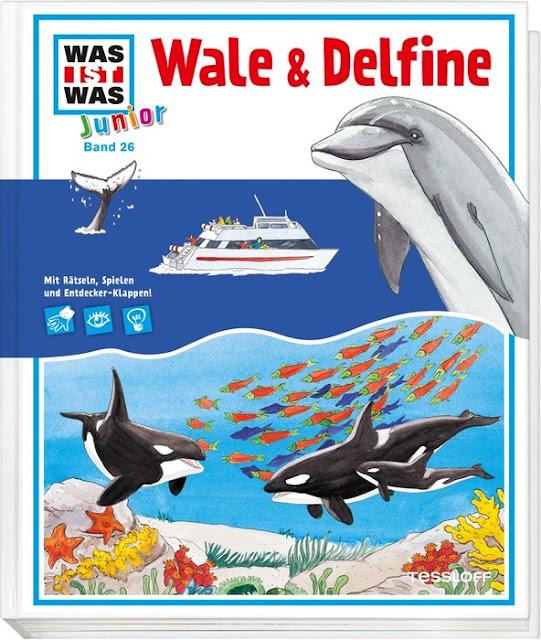 """In meinem neuesten Bücherboot stelle ich Euch zahlreiche Kinderbücher zum Thema """"Wale"""" vor. Und auch für die Eltern bzw. Erwachsenen ist etwas dabei :) Jedes der vorgestellten Kinder- und Jugendbücher darf ich am Ende des Posts auch an Euch verlosen - damit Ihr voller Wal-Faszination schmökern könnt! Hier seht Ihr übrigens das Cover zu """"Wale und Delfine""""."""