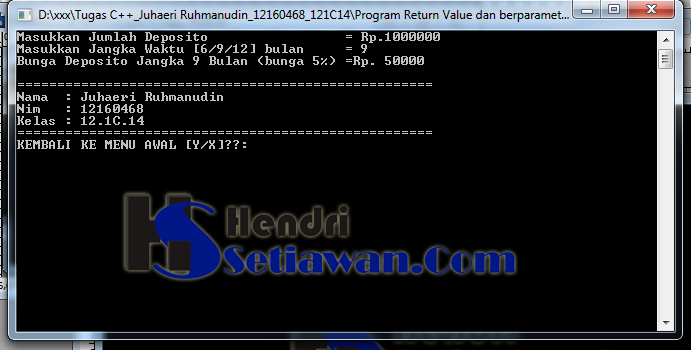 Contoh Program Penghitungan Bunga Deposito Dengan Fungsi Return Value C Hendri Setiawan