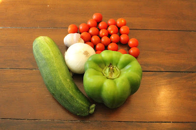 Franklin County Iowa Farmers Market Produce - Zucchini, Pepper, Tomatoes, Onions, Garlic