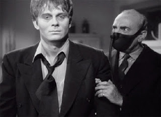Prof. Morris (George Zucco) helps steady his wobbly, zombified assistant (David Bruce)