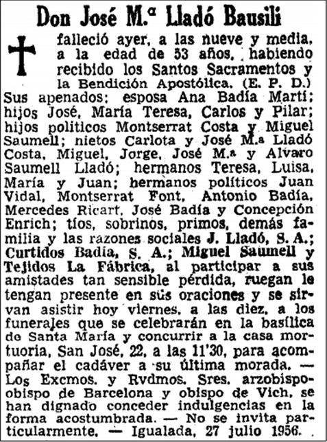 Esqueka de Josep Maria Lladó i Bausili, 1956