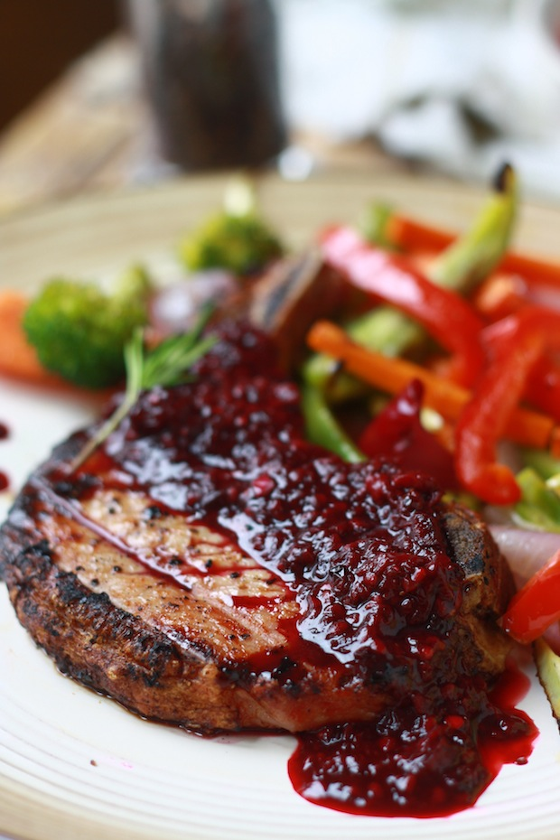 Grilled Pork Chops with Blackberry Ginger Sauce by SeasonWithSpice.com