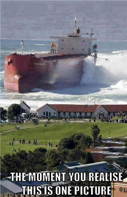 huge oil tanker run aground in storm surge
