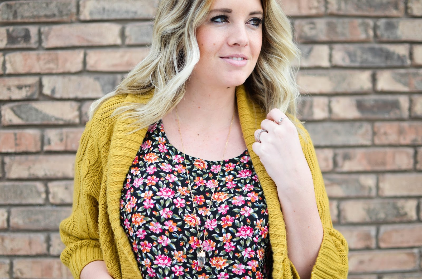Crystal Necklace, Mustard Cardigan, Floral Dress