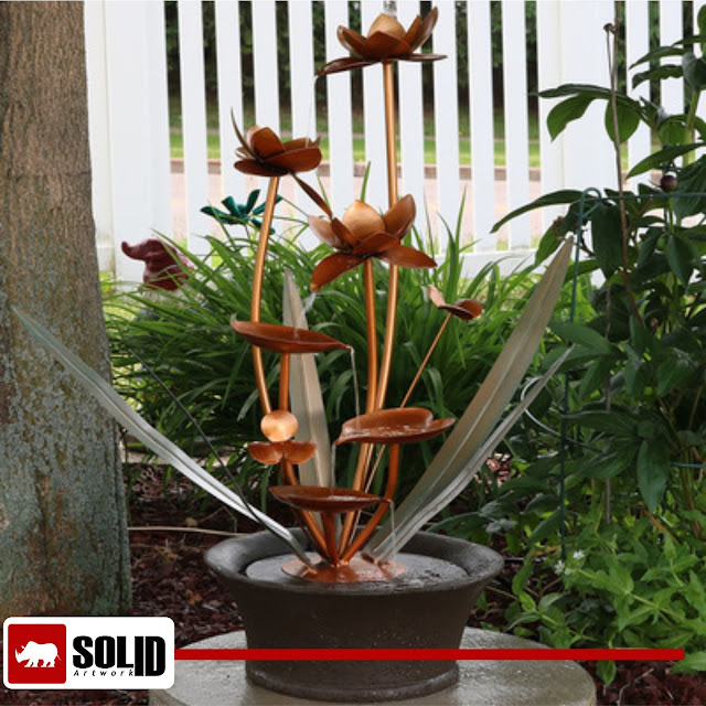 Copper Flower Blossoms  Water Fountain