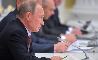 Vladimir Putin at a meeting with representatives of the Russian business community.