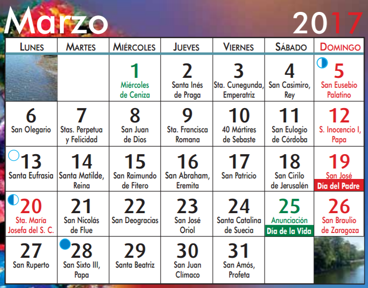 Calendario Santoral.Santoral Mes Julio