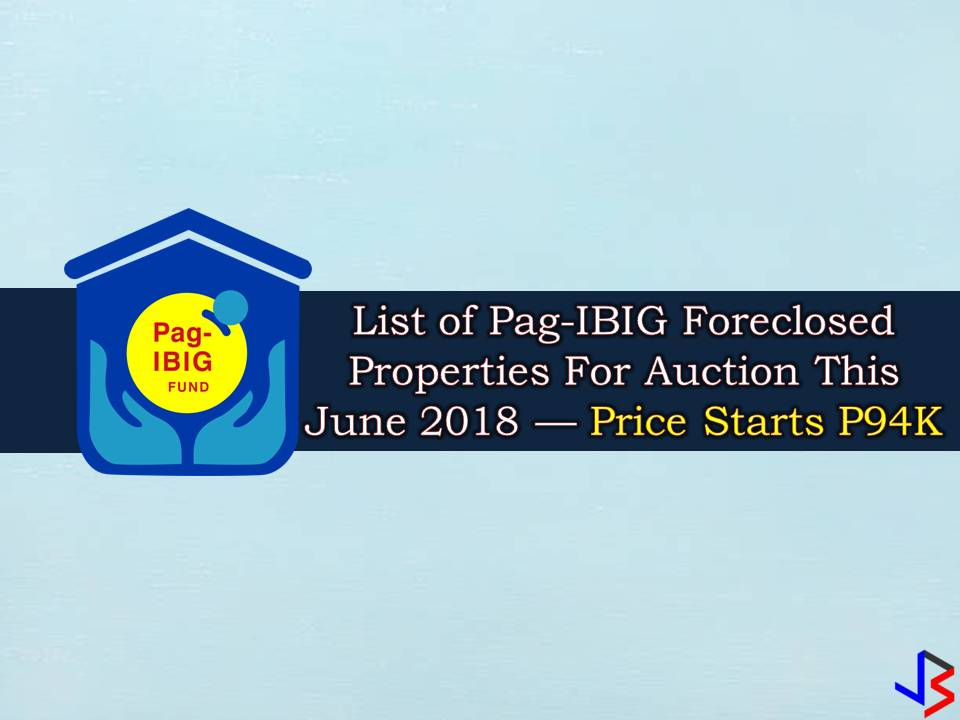 The Pag-IBIG Fund has a lot of foreclosed properties to offer to those who are looking for properties to buy or for investment. This June 2018 hundreds of properties are for sale such as a lot or vacant lot, single-attached house, townhouse, duplex, quadruplex, rowhouse, condo unit, among others.  With this, the Pag-IBIG Fund will conduct rounds of public auction of its acquired properties that are for sale. Some of this properties are to be sold with discount!   Note: Jbsolis.com is not affiliated with Pag-IBIG Fund and this post is not a sponsored. All information below is for general purpose only. If you are interested in any of these properties, contact directly with the Pag-IBIG branches in your area or in contact info listed in this post. Any transaction you entered towards the institution or any of its broker is at your own risk and account.
