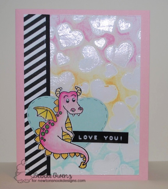 Dragon Card by Debbie Owens featuring Magical Dreams and Darling Hearts die set by Newton's Nook Designs, #newtonsnook