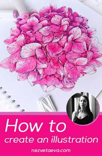 hydrangea, marker sketch, Sonia Nezvetaeva, artist diary, pin me