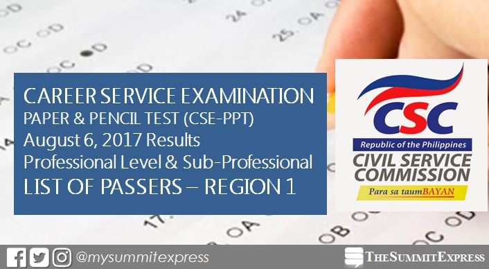 Region 1 Passers: August 2017 civil service exam (CSE-PPT) results