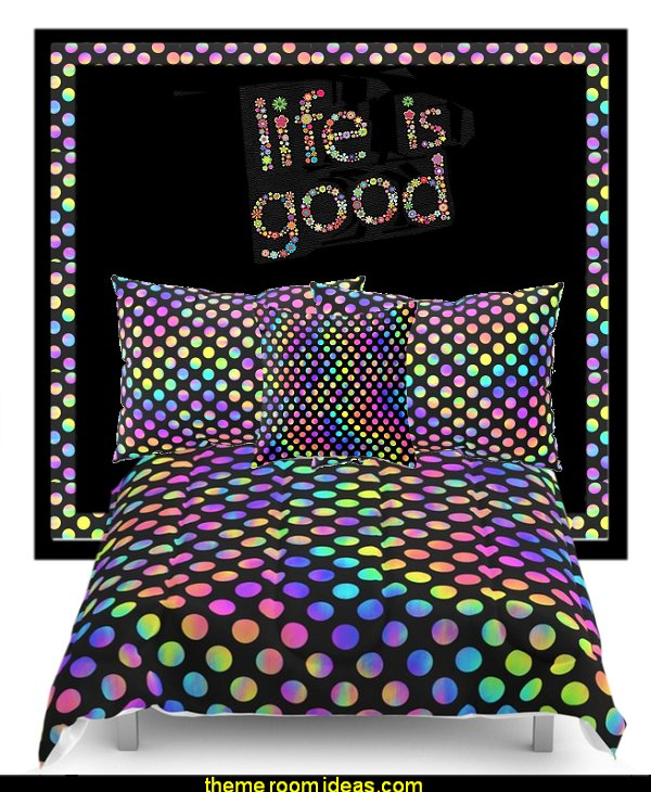 Rainbow Polka Dot  bedding  bedding - funky cool girls bedding - fashion bedding - girls bedding - teens bedding  - novelty bedding - duvet covers - comforter sets - lace bedding - floral bedding - solid color bedding - fuzzy furry bedding - ruffle bedding - novelty blankets - mermaid blankets - Pompom blanket - Chunky Knit Blankets