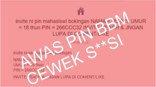 BAHAYA! Jangan Invite Pin BBM Cewek S**si di Facebook