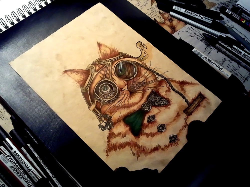 09-Cat-Wanted-Poster-Paula-Duță-Drawing-Animals-Steampunk-Clothing-www-designstack-co