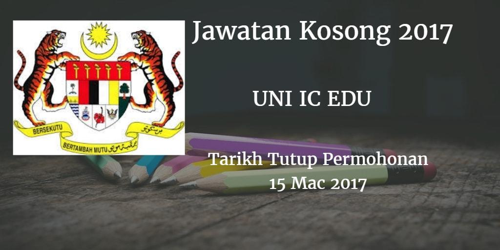 Jawatan Kosong UNI IC EDU 15 Mac 2017