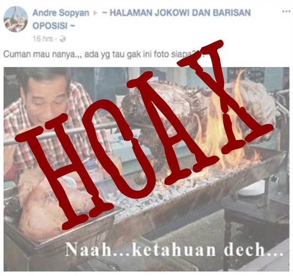 Foto Hoax Jokowi Makan Daging Babi - FB