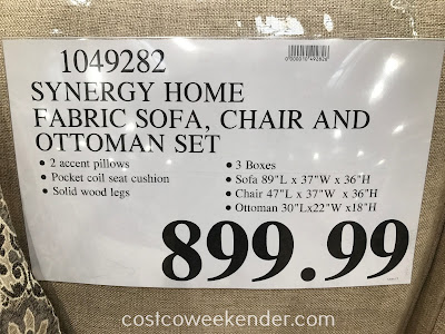 Deal for the Synergy Home Fabric Sofa, Chair & Ottoman Set at Costco