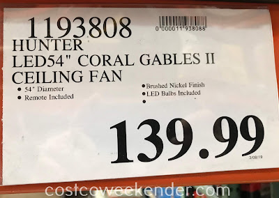 Deal for the Hunter Coral Gables II 54in Ceiling Fan at Costco