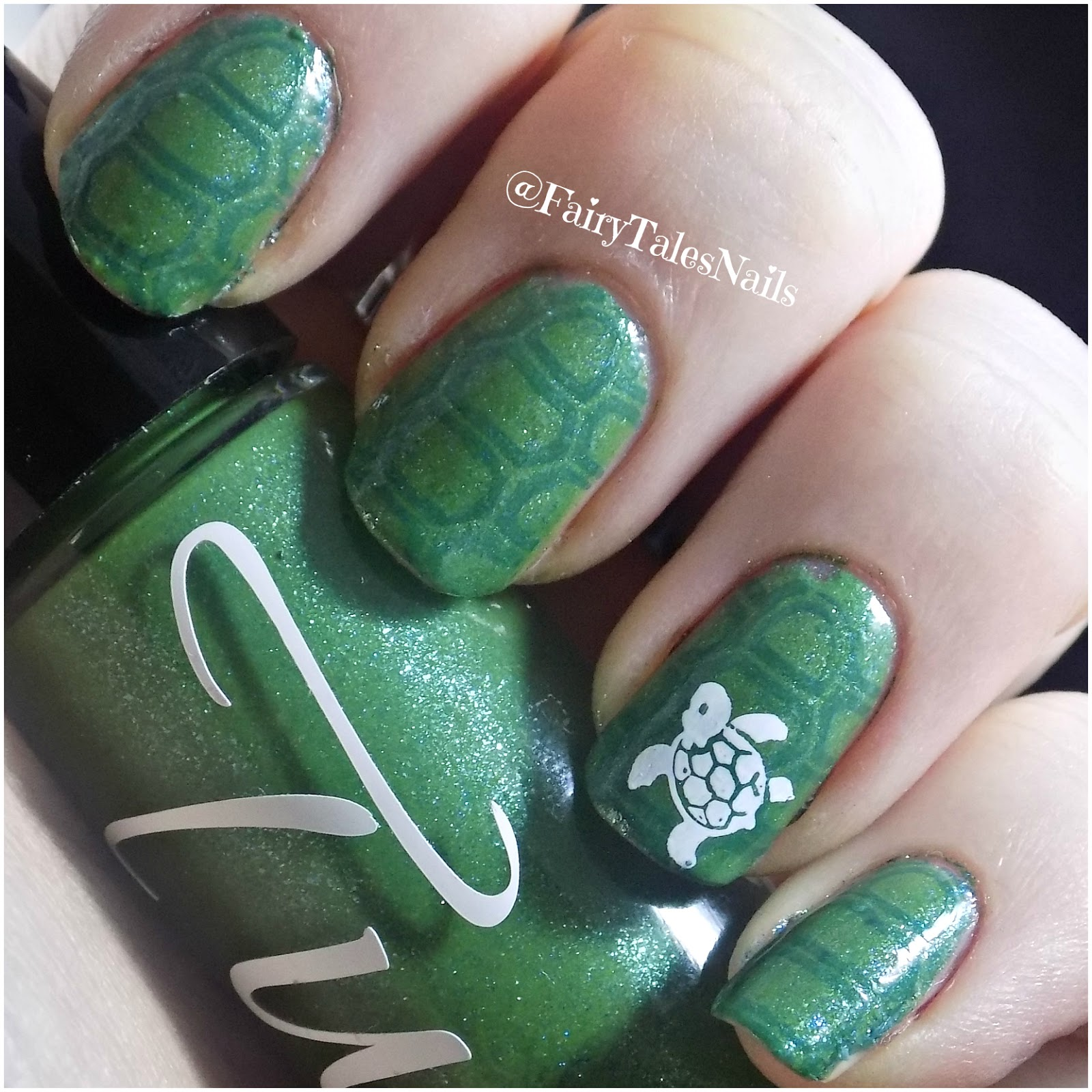 Fairytales nails tux polish sea turtle nail art i managed to use this beautiful polish and create in my opinion a very cute sea turtle manicure i completely fell in love with this polish as soon as i saw prinsesfo Gallery