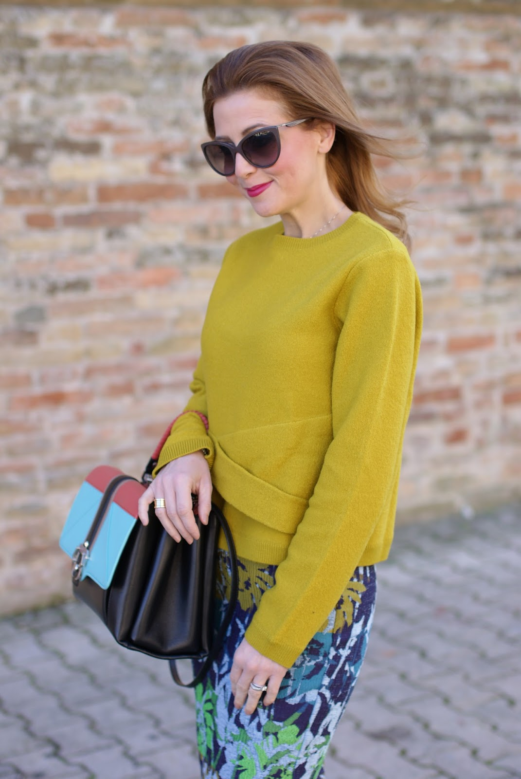 Green yellow sweater and floral midi pencil skirt on Fashion and Cookies fashion blog, fashion blogger style