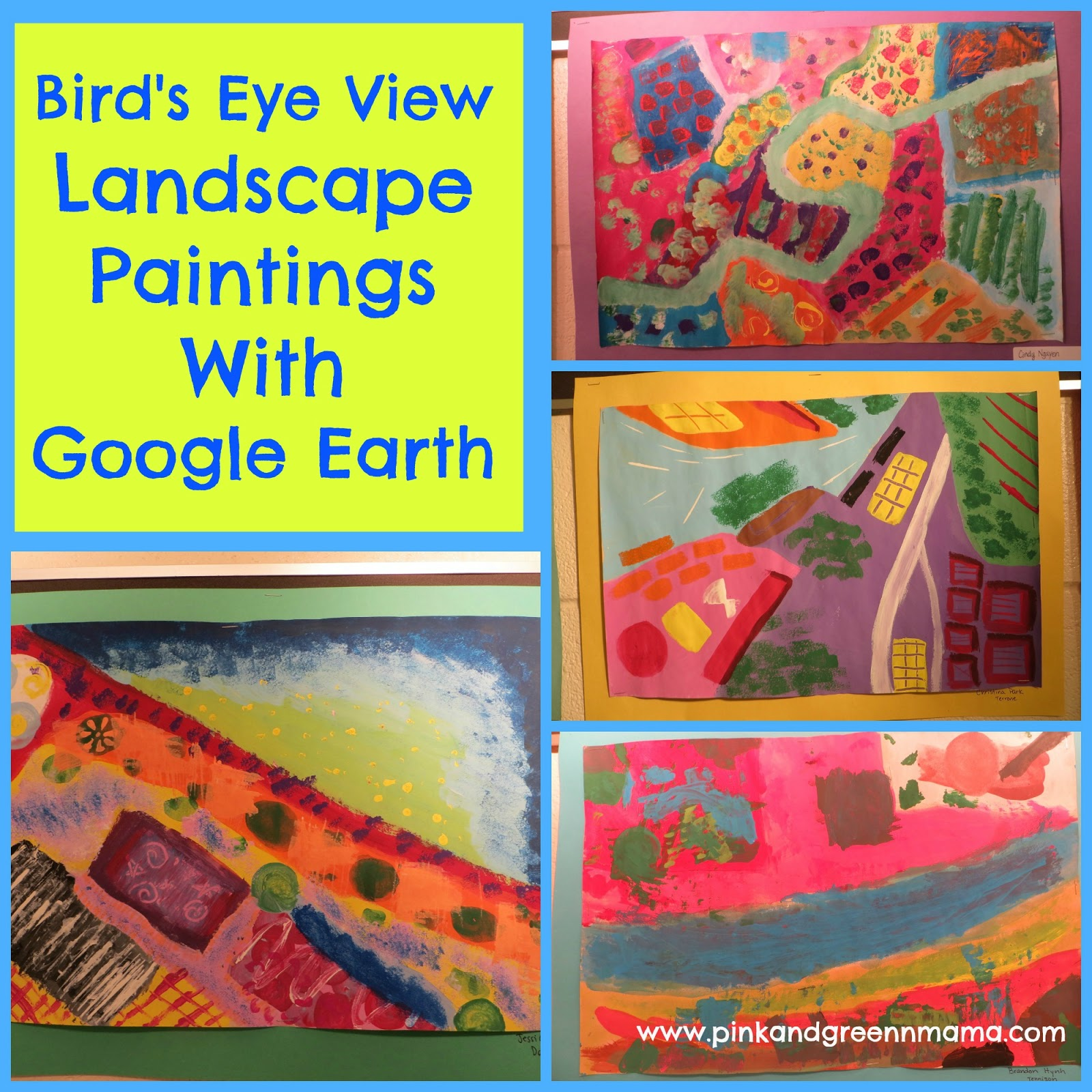 Pink And Green Mama Bird S Eye View Landscape Paintings With Images From Earth