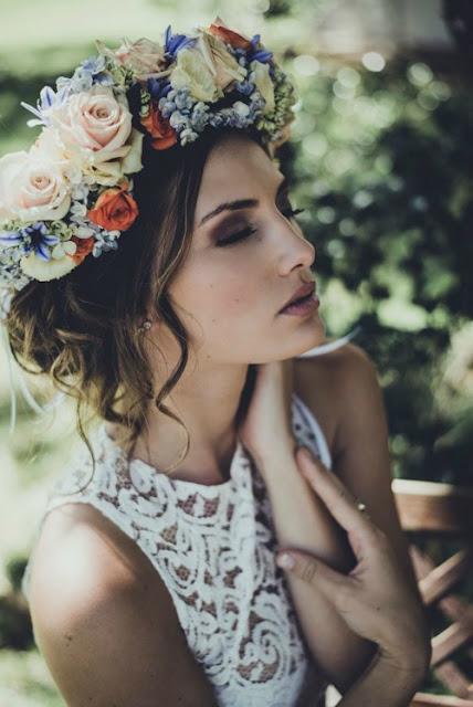 Moody.Vintage.Floral.Bridal.Crown. Updo