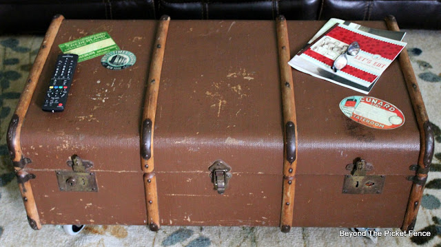 decoupage vintage luggage tags on an old trunk