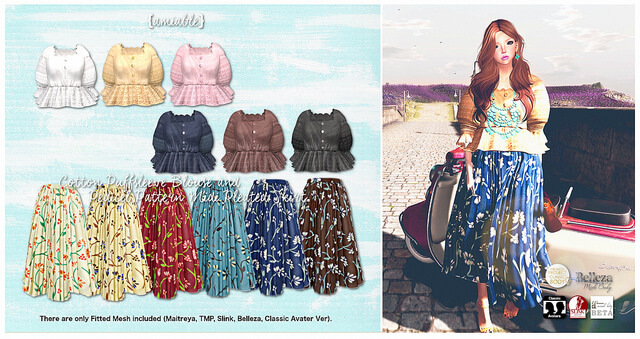 {amiable}Cotton Puffsleeve Blouse and Pedicel Pattern Midi Pleated Skirt@the Shiny Shabby.