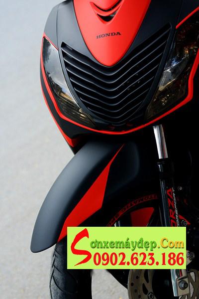 Honda SH sơn phối màu đỏ đen nhám