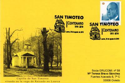 Tarjeta del matasellos en Luarca con motivo del centenario de las fiestas de San Timoteo