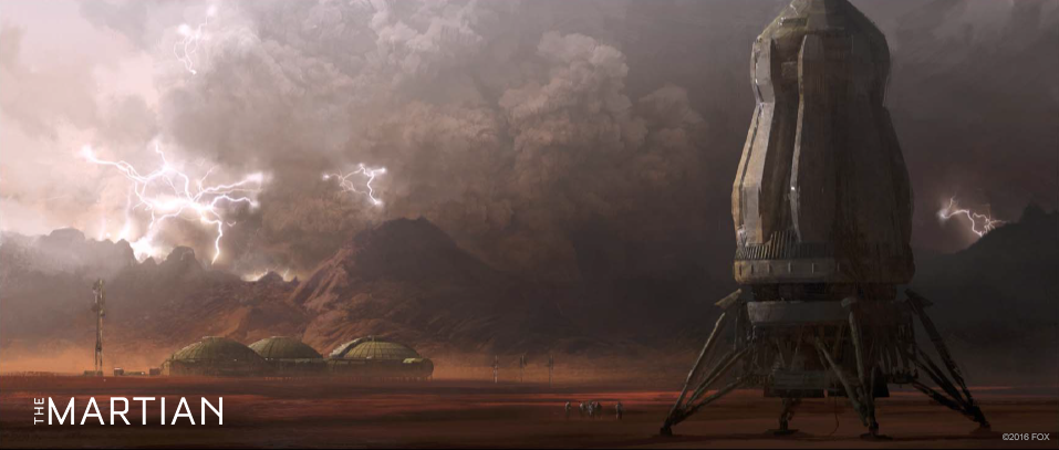 Concept art for The Martian - the base and return vehicle